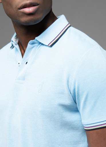 Short sleeve polo with stripes on collar