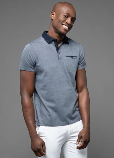 Polo à maille fantaisie col esprit chemise